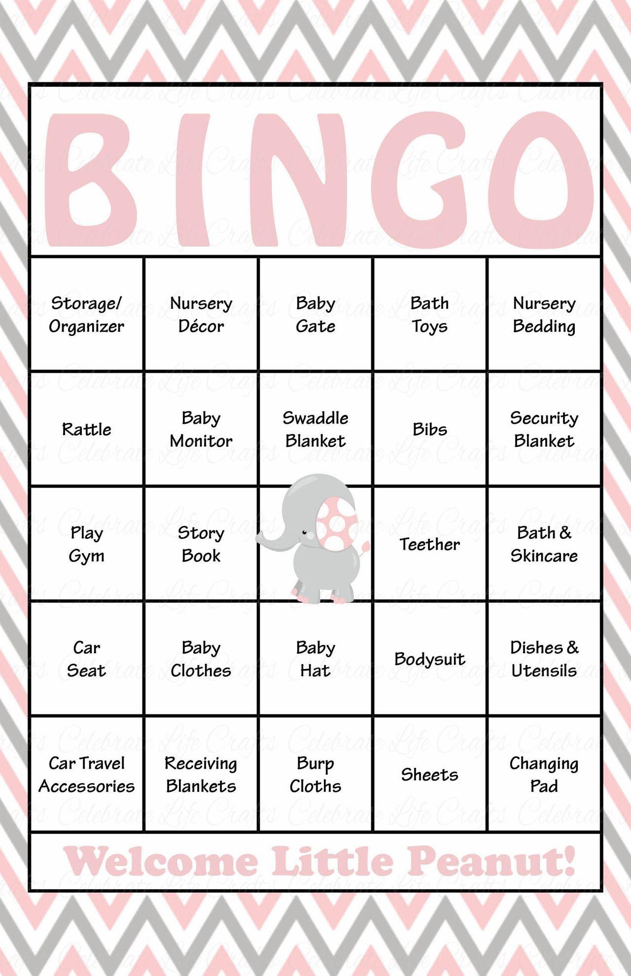 Elephant Baby Shower - Baby Bingo Cards - Printable Download