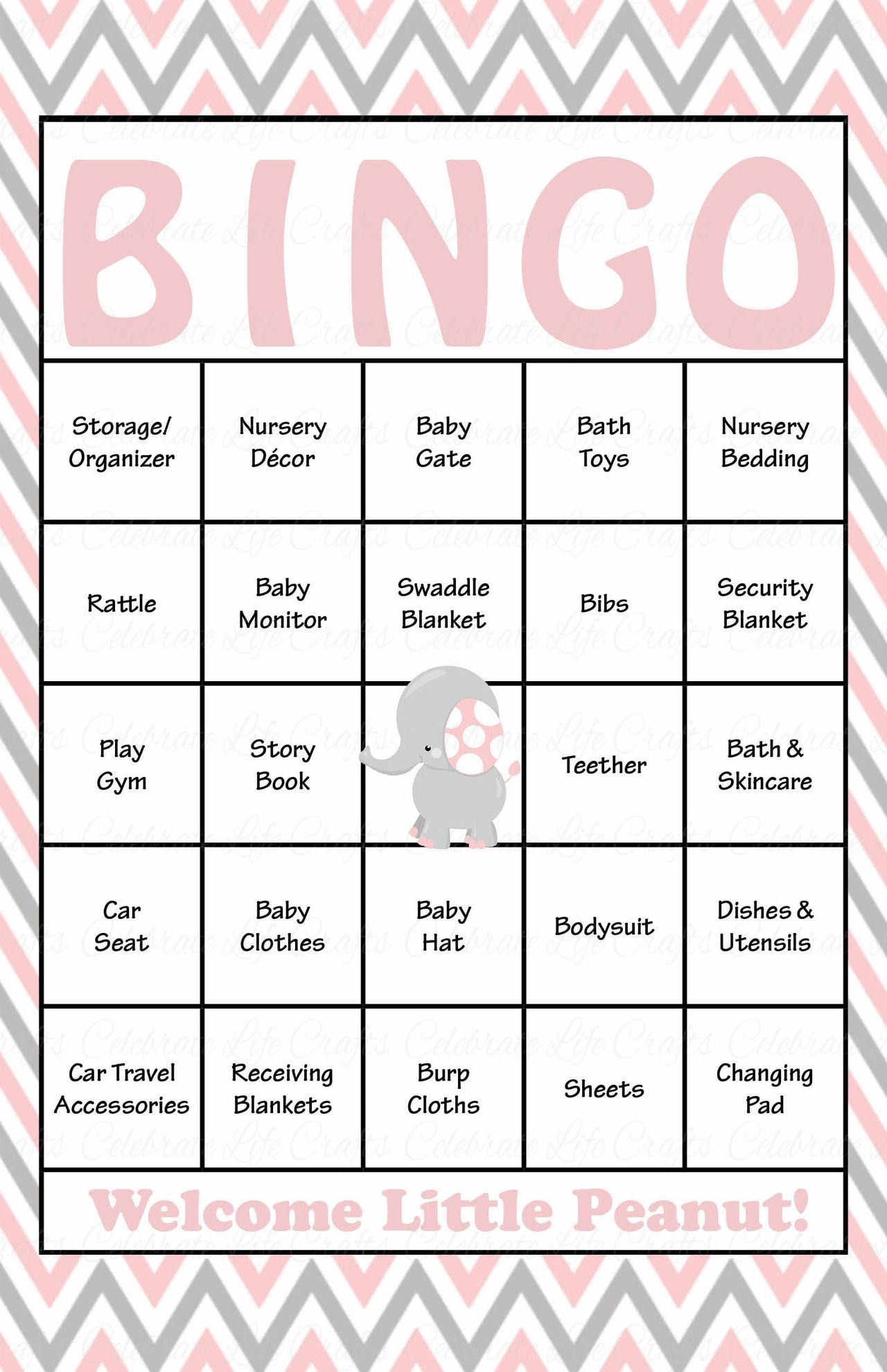 Elephant Baby Shower - Baby Bingo Cards - Printable Download