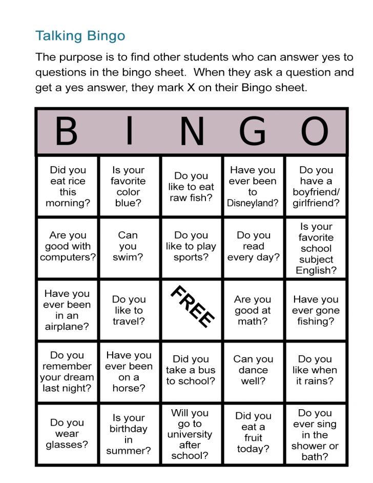 Bingo Cards Printable Esl