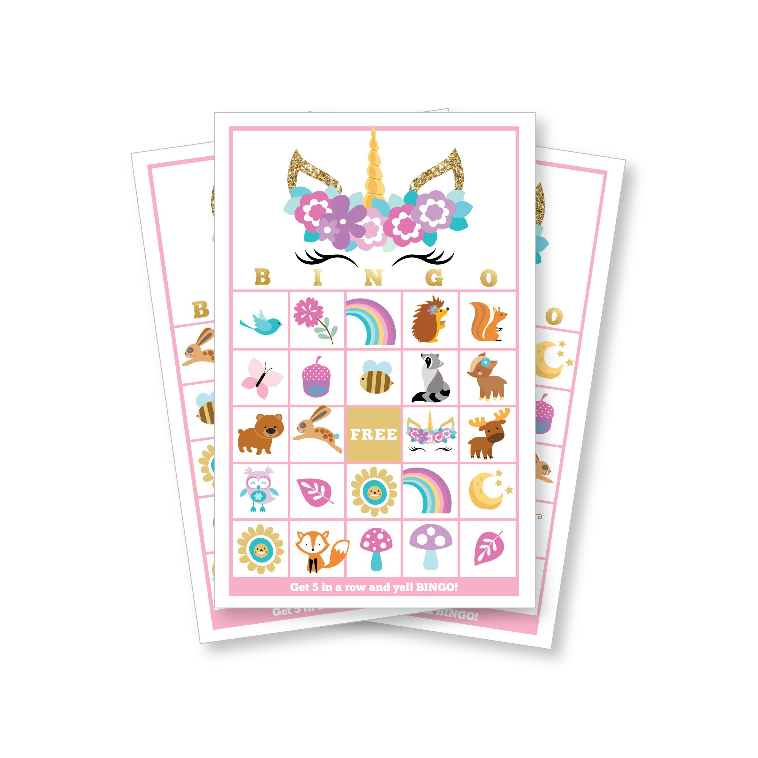 Eyelash Unicorn Bingo Game Kid's Printable Bingo Game | Etsy