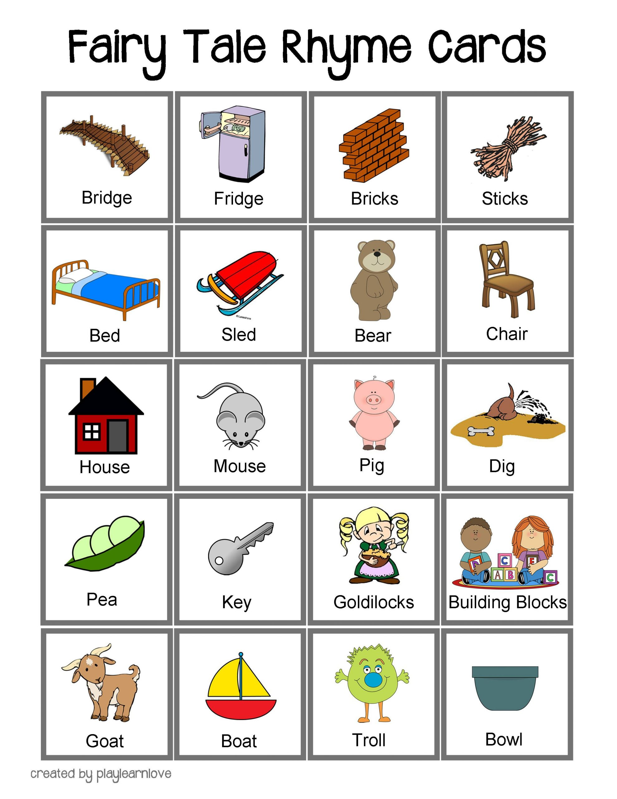 Fairy Tale Rhyme Cards: Toddler And Preschooler Rhyming Game