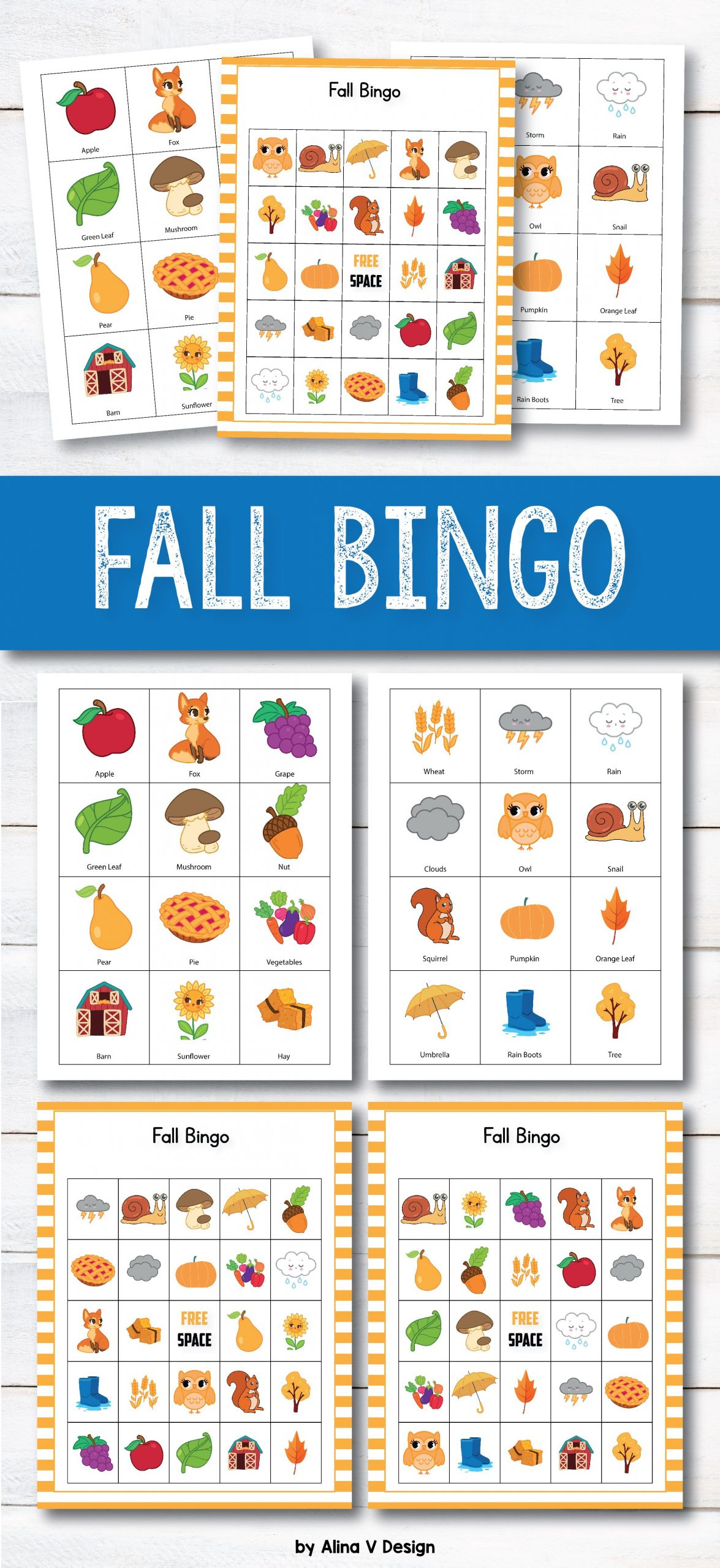 Fall Bingo Cards Preschool - Autumn Bingo, Fall Games