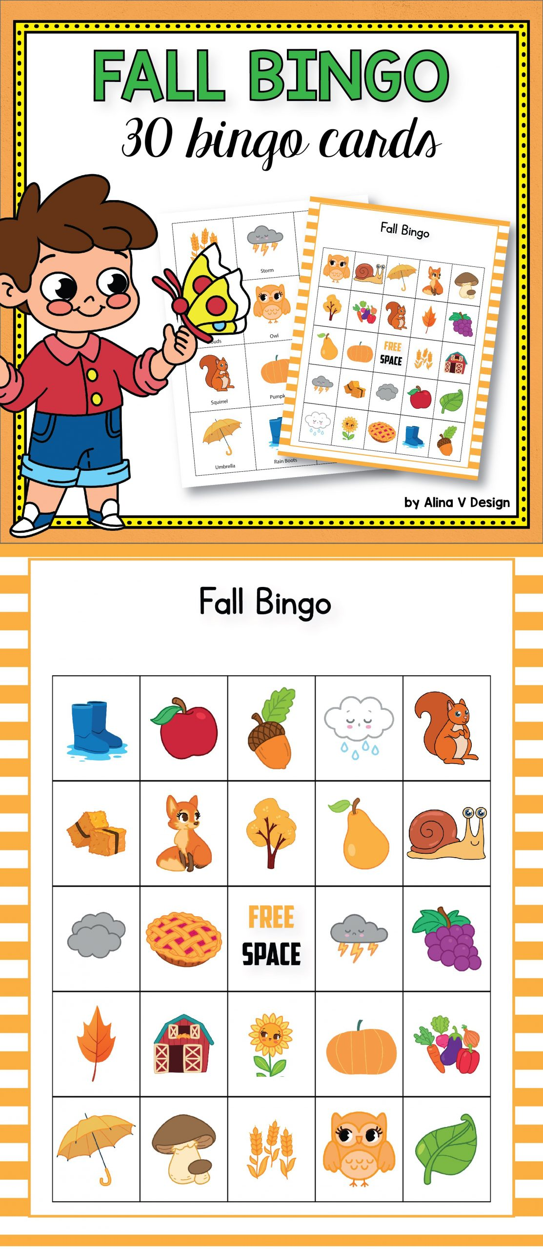 Fall Bingo Cards Preschool - Autumn Bingo, Fall Games