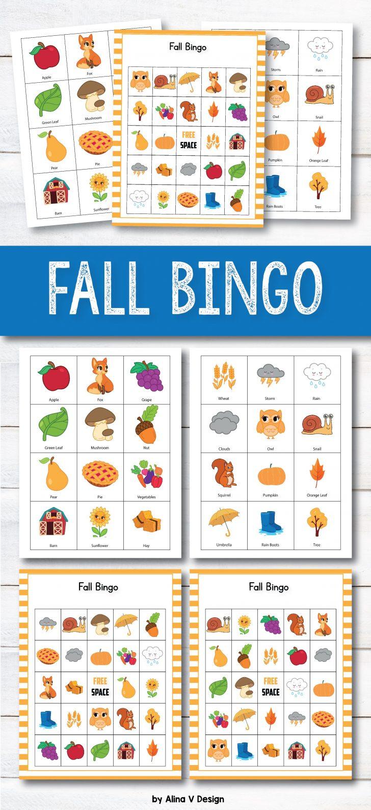Autumn Bingo Printable Cards