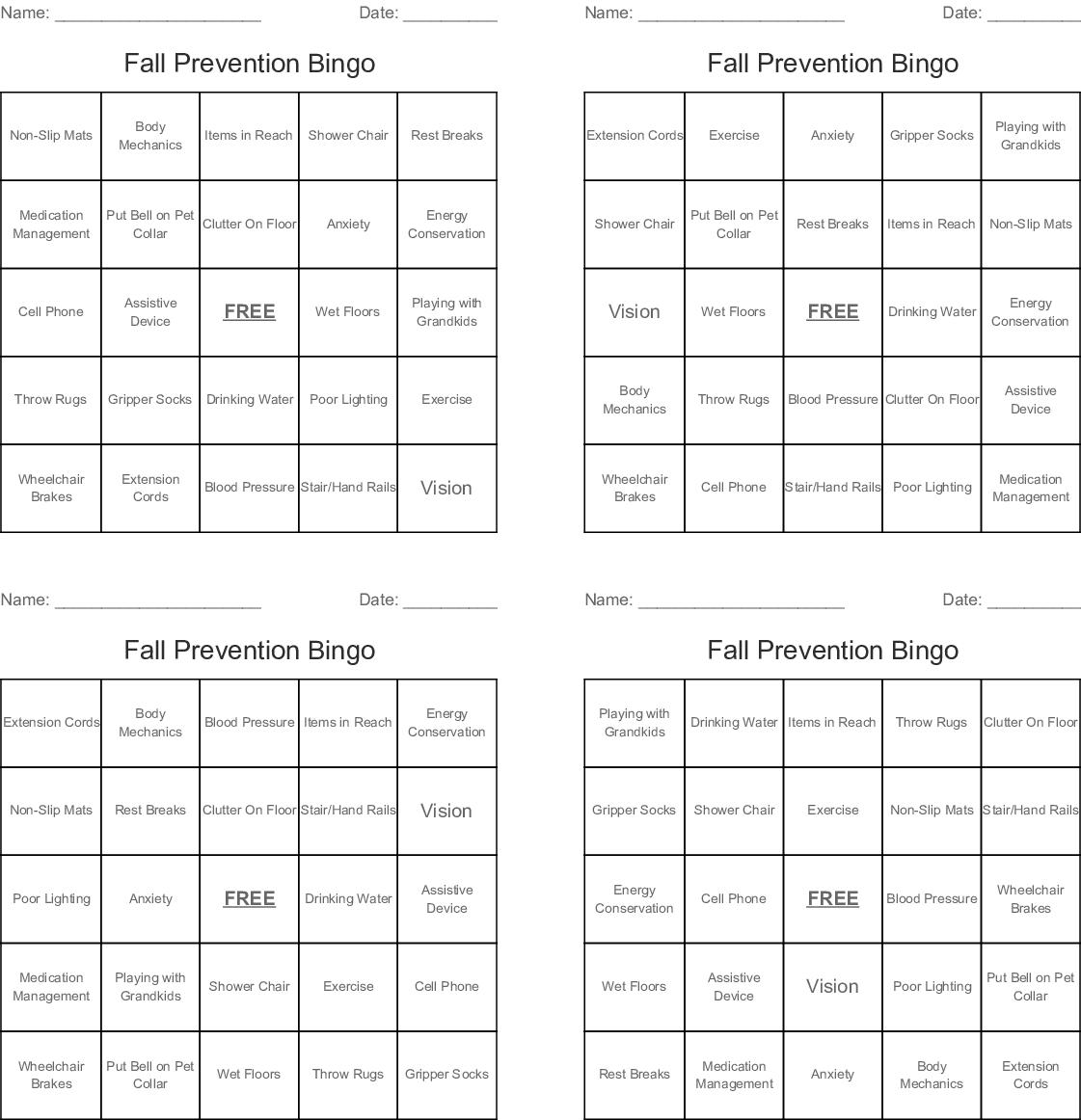 Fall Prevention Bingo Cards - Wordmint