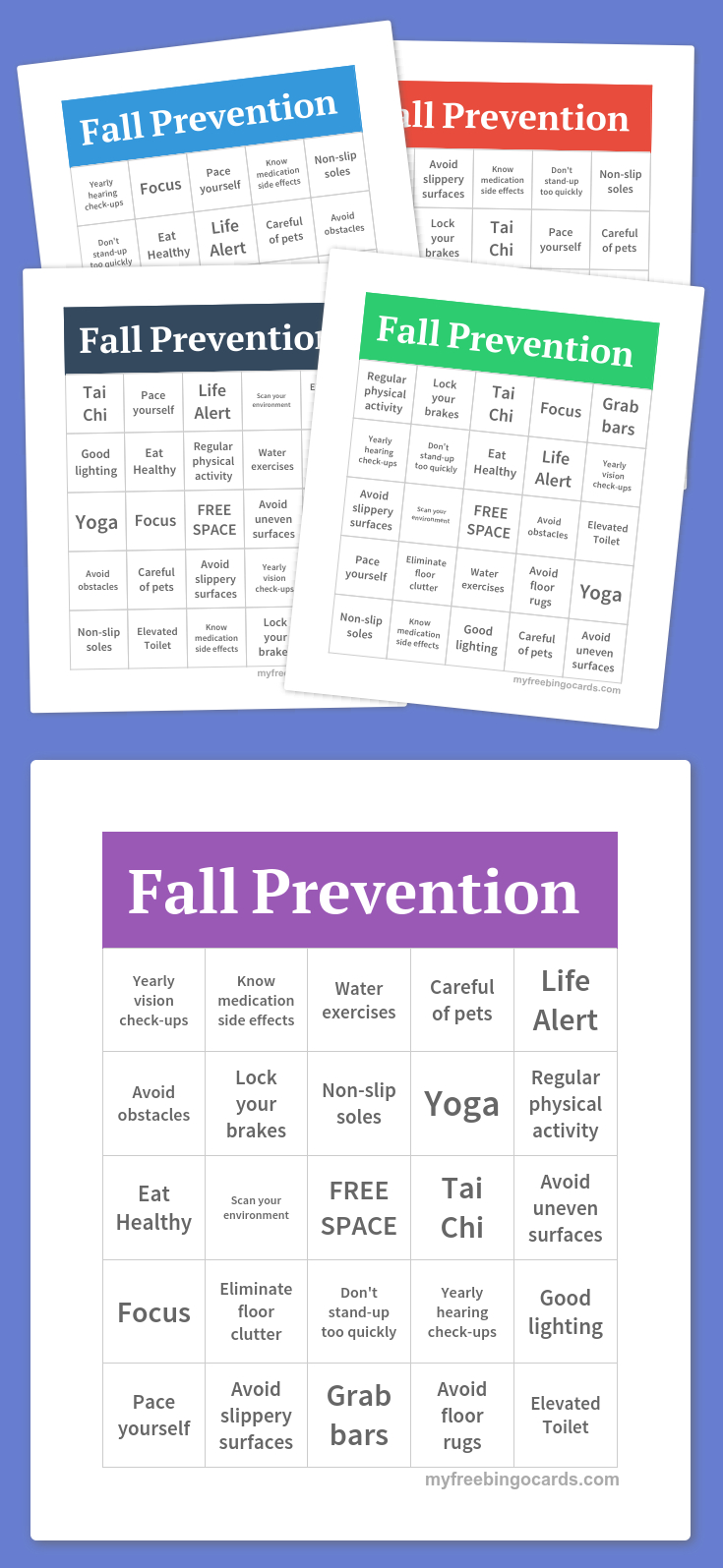 Fall Prevention Bingo | Free Bingo Cards, Free Printable