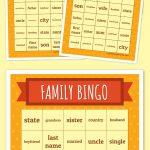 Family Bingo | Free Printable Bingo Cards, Thanksgiving