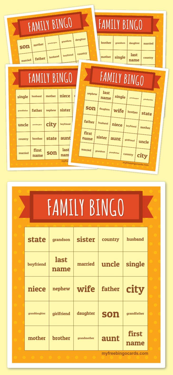 Printable Family Bingo Cards
