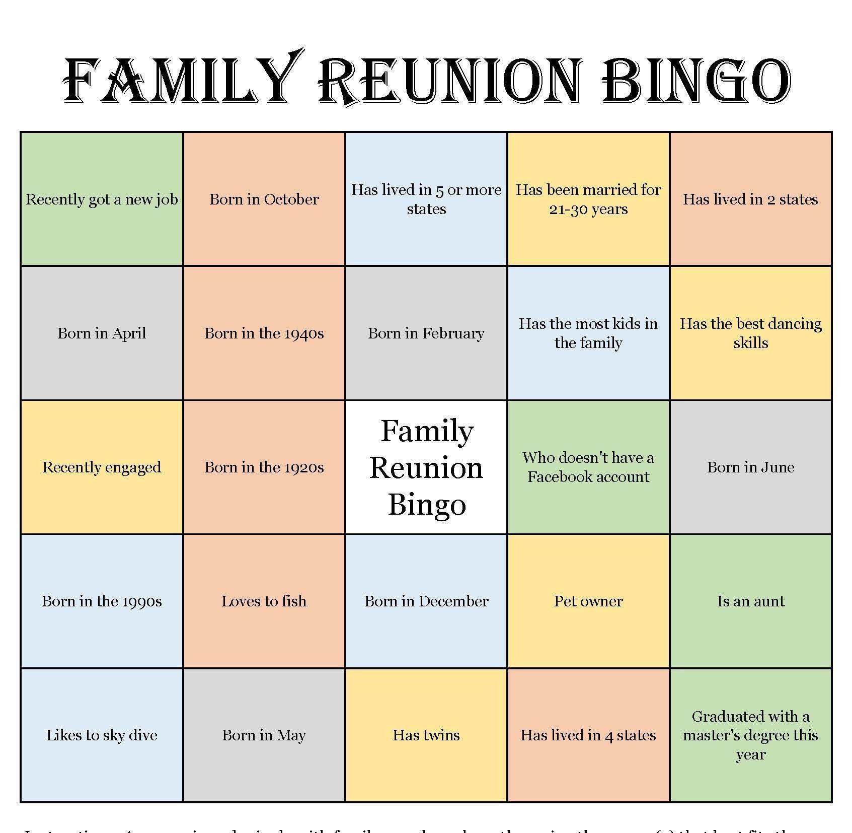 Family Reunion Bingo Cards (Mix & Mingle Style Bingo