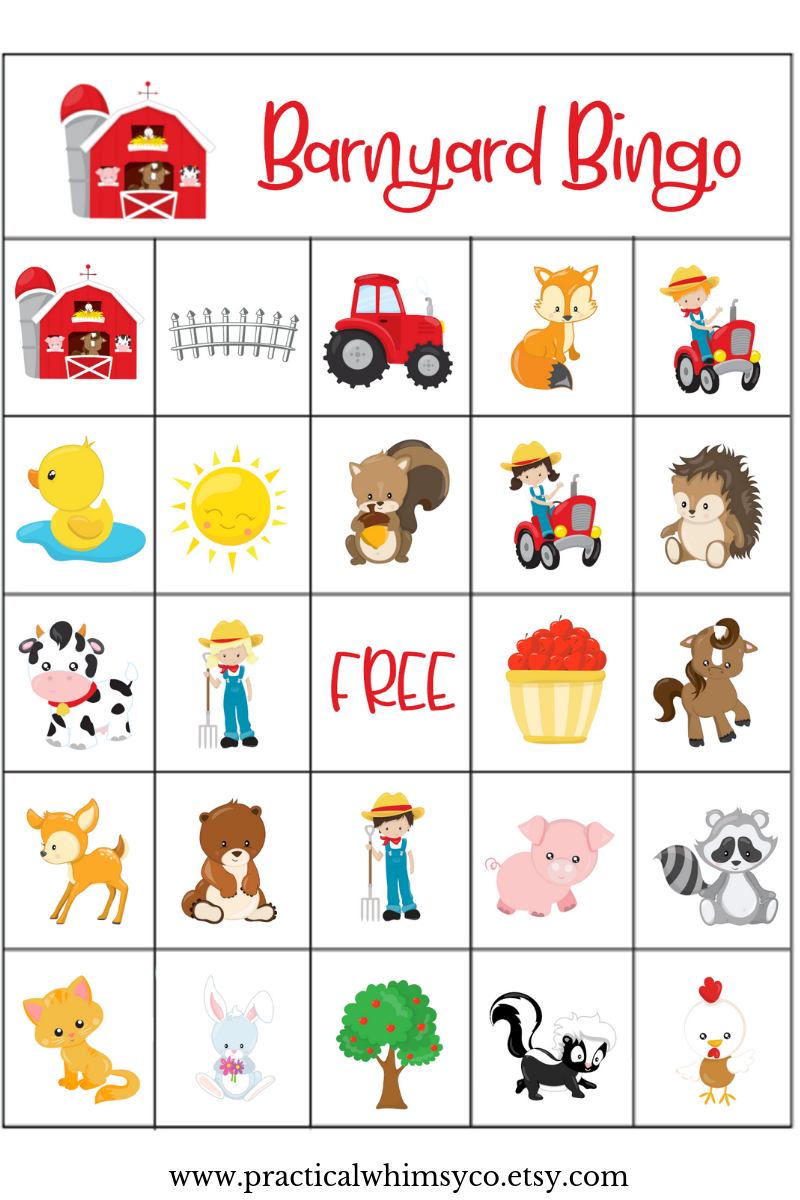 Farm Animal Birthday Party Game, Barnyard Bingo Cards For