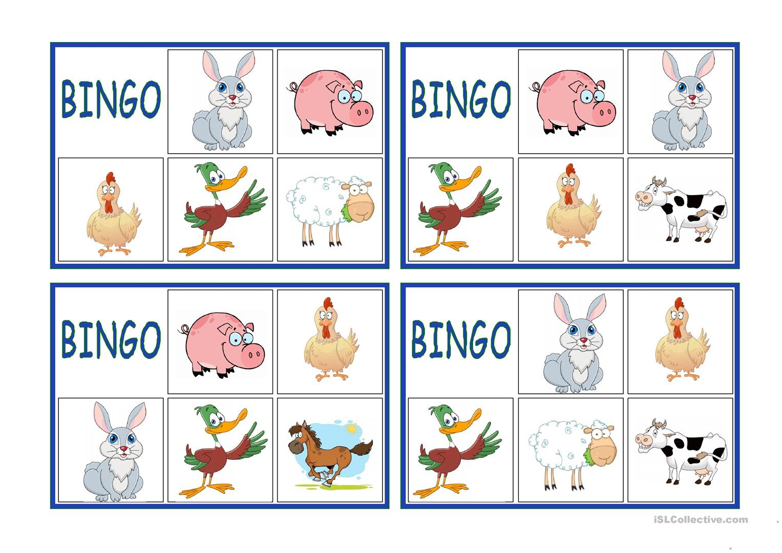 Farm Animals Bingo - English Esl Worksheets For Distance