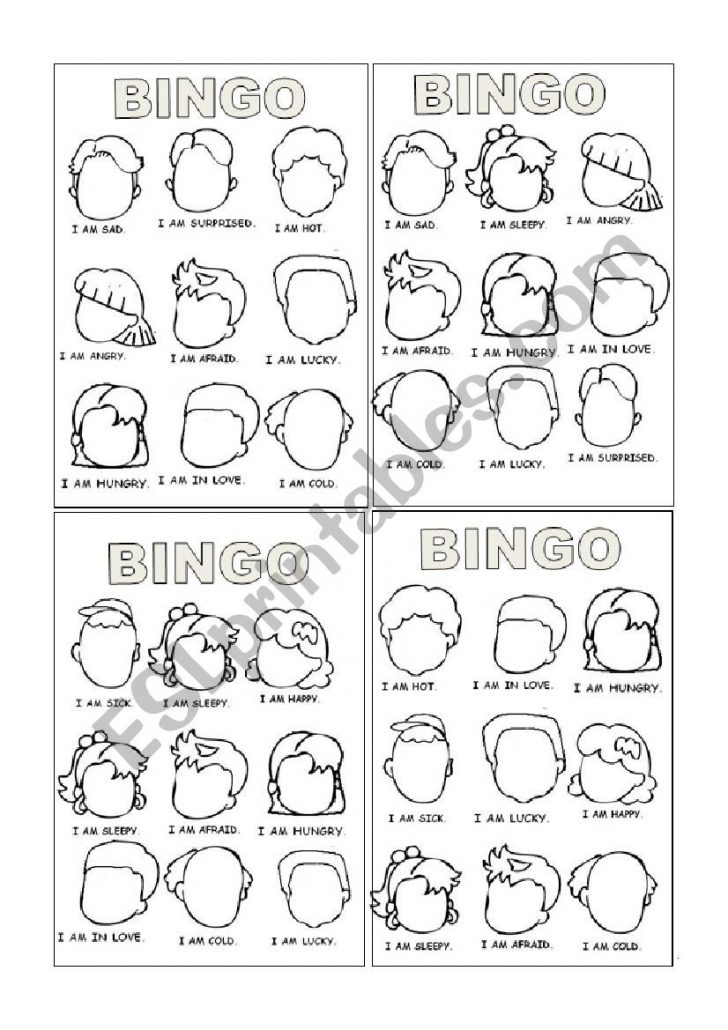Feelings Bingo Cards Printable