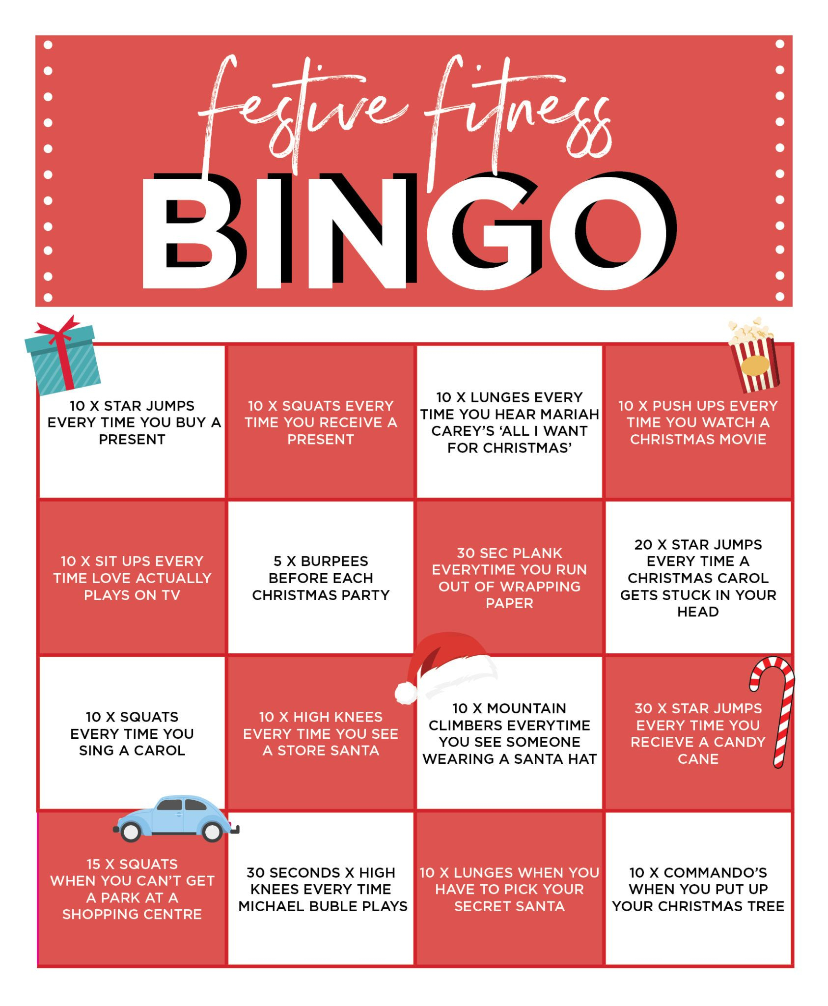 Festive Fitness Bingo | Card Workout, Bingo, Movie Workouts