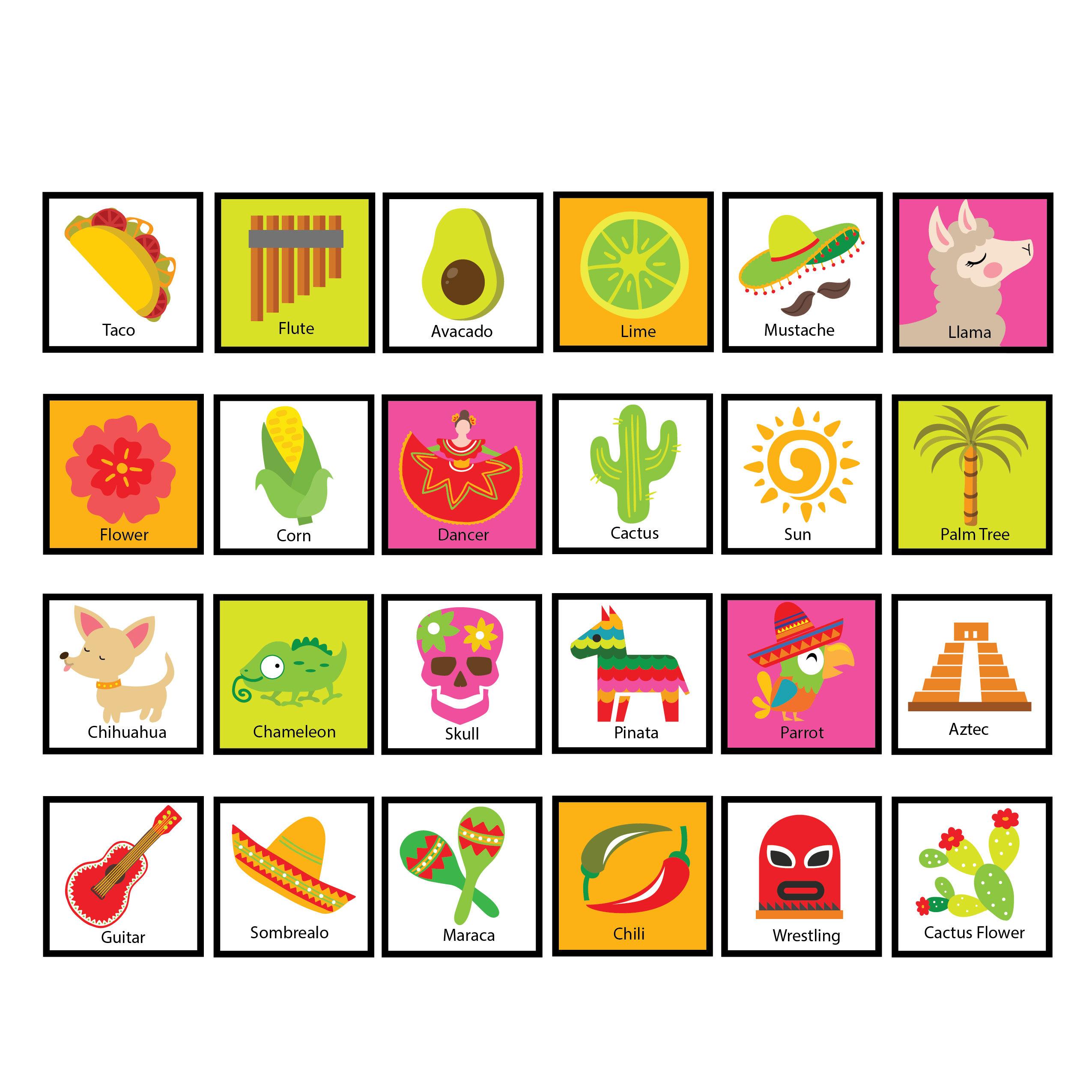 Fiesta Bingo Game - Kid's Printable Bingo Game - Bingo Game