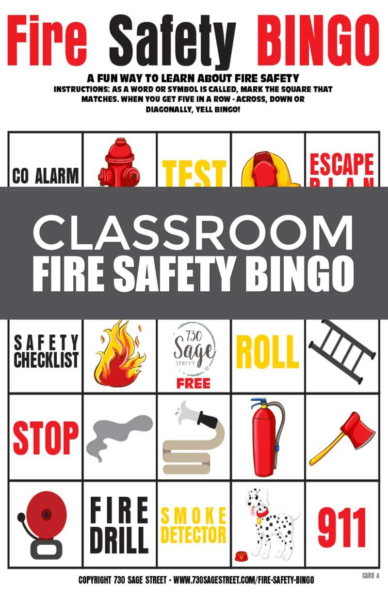 Fire Safety Bingo Game For Classrooms | Bingo, Classroom