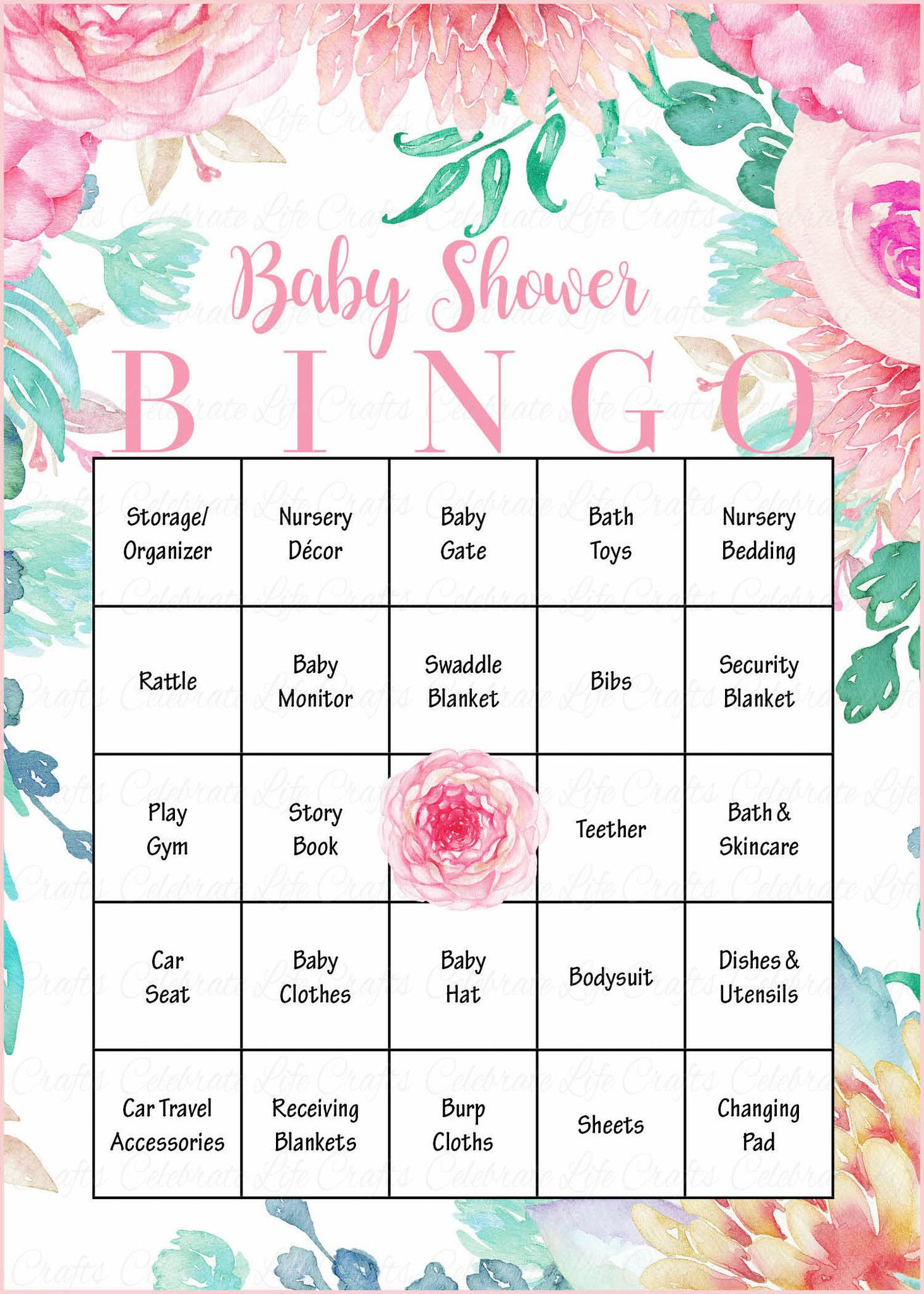 Floral Baby Bingo Cards - Printable Download - Prefilled