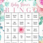 Floral Baby Bingo Cards   Printable Download   Prefilled
