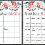 Floral Bridal Shower Bingo, Spring Flowers Bridal Shower, 60