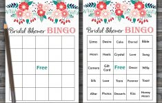 Floral Bridal Shower Bingo, Spring Flowers Bridal Shower, 60