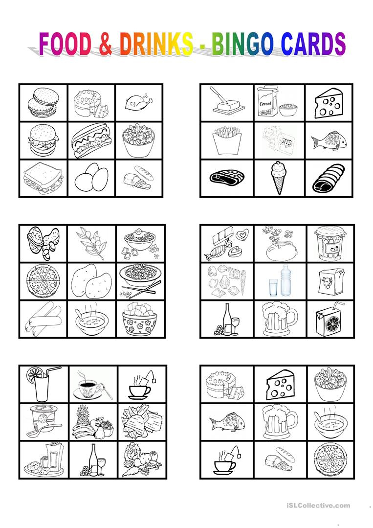 Food And Drinks - Bingo Cards - English Esl Worksheets For