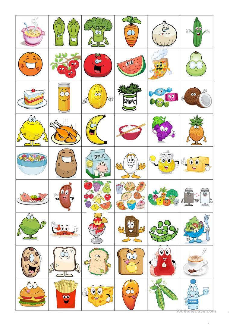Food Bingo Concentration Game - English Esl Worksheets For