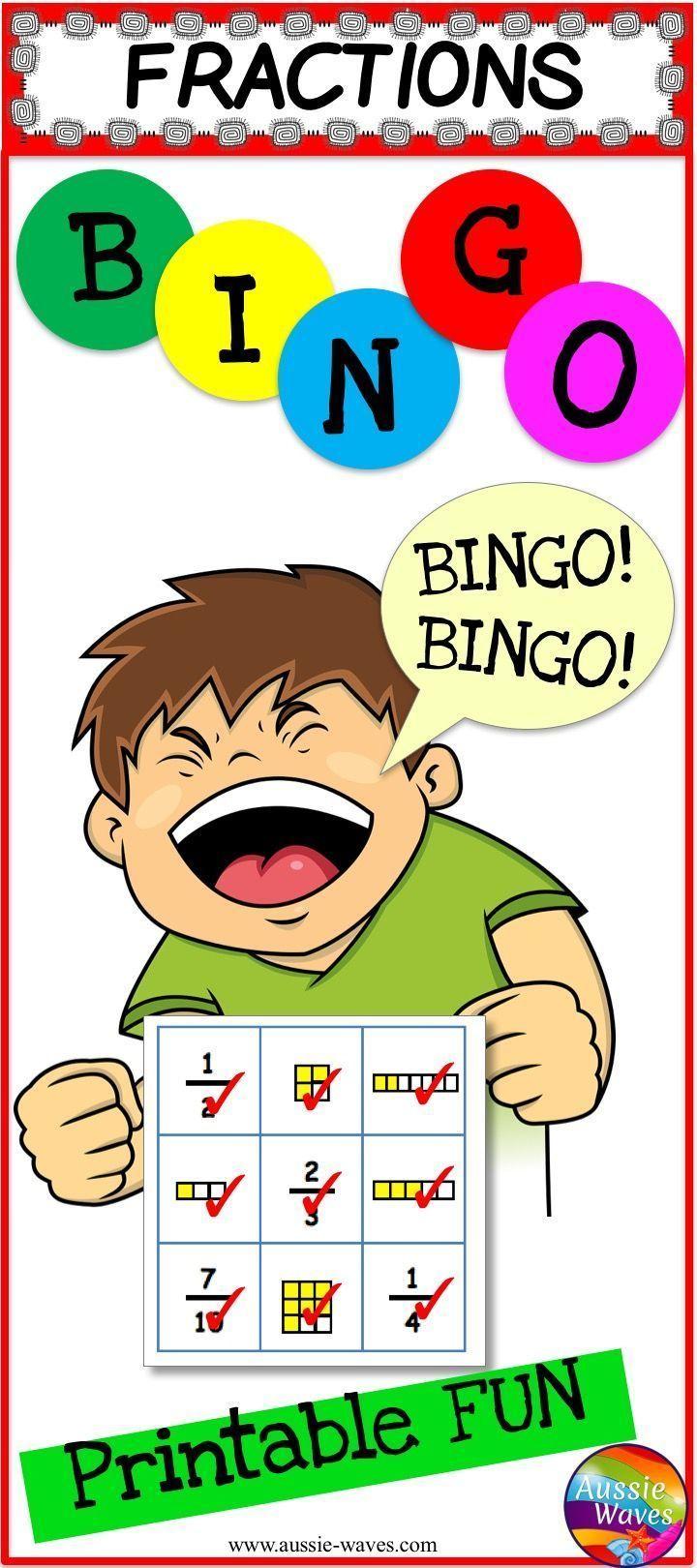 Printable Fraction Bingo Cards