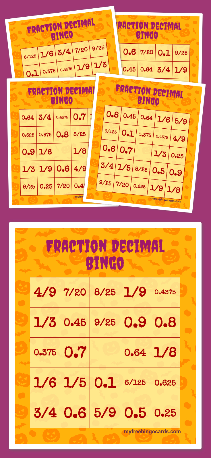 Fraction Decimal Bingo | Halloween Bingo Printable, Free