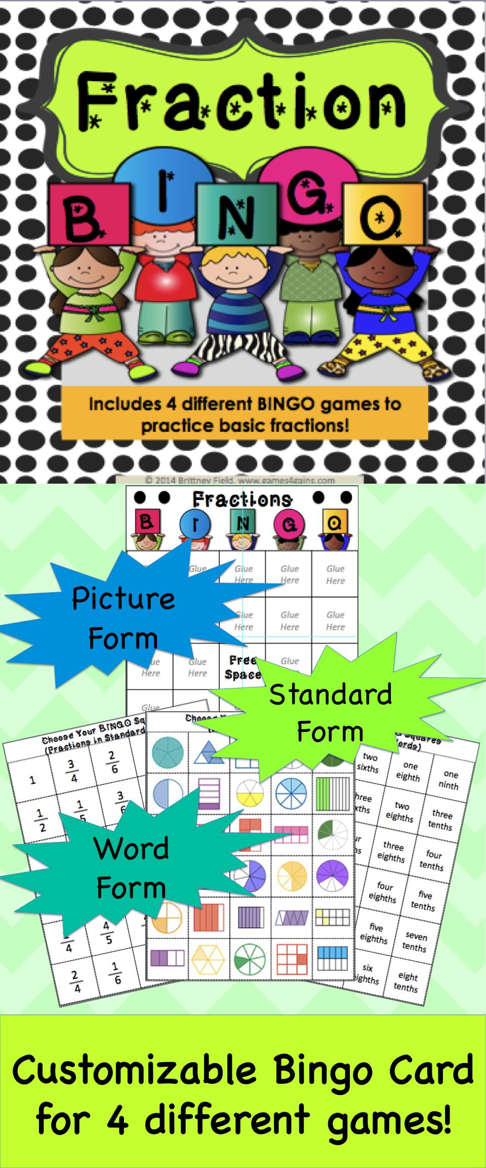 Fraction Games {Bingo!}   Fractions, Fraction Bingo