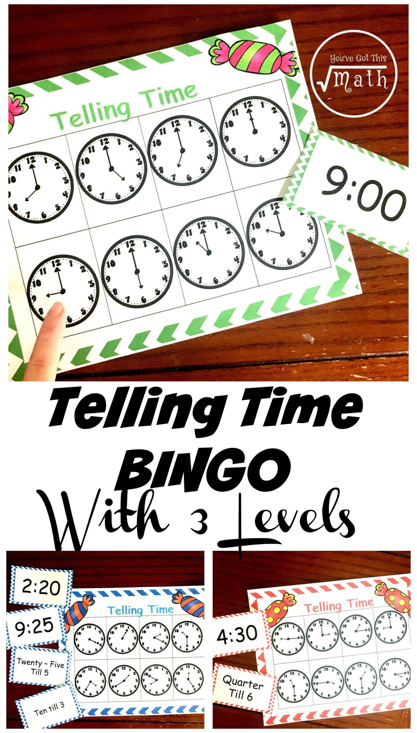 Free Bingo Game To Practice Telling Time For Kids | Telling