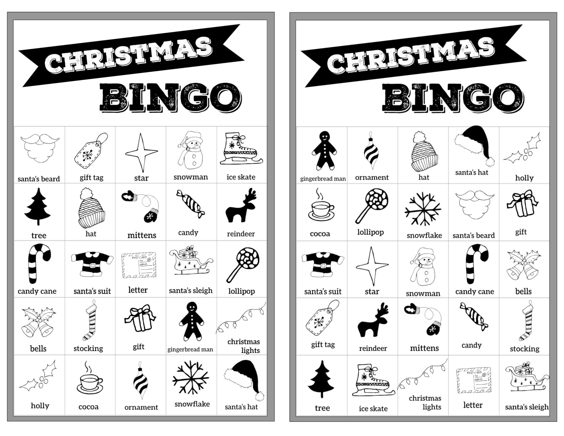 Free Christmas Bingo Printable Cards - Paper Trail Design