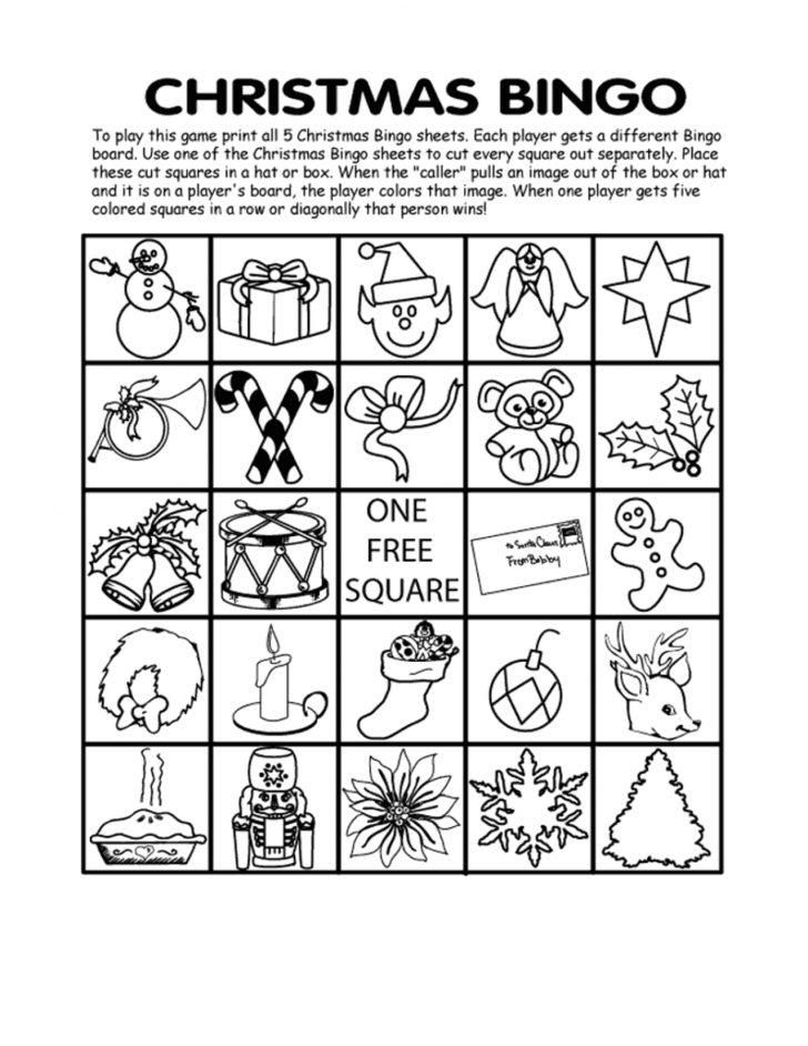 Free Printable Black And White Christmas Bingo Cards