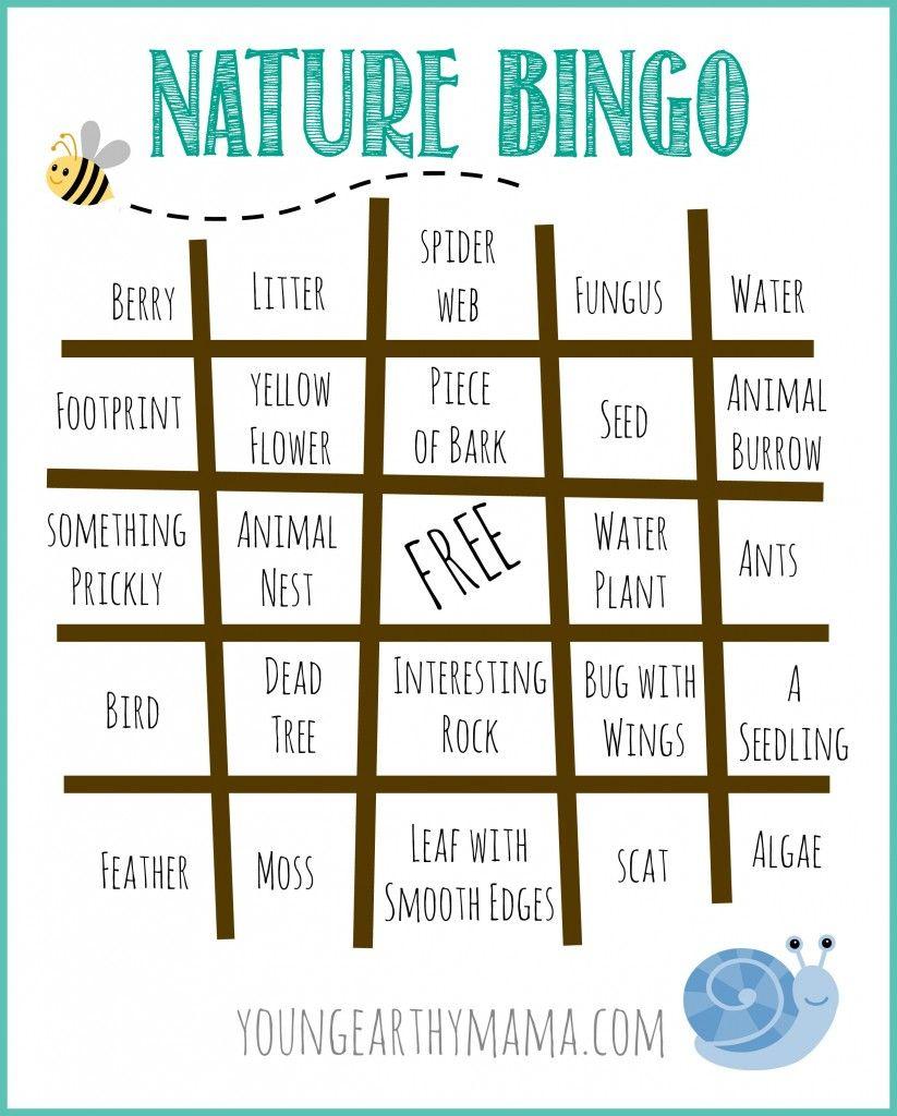 Free Nature Bingo Printable. Outdoor Bingo Printable