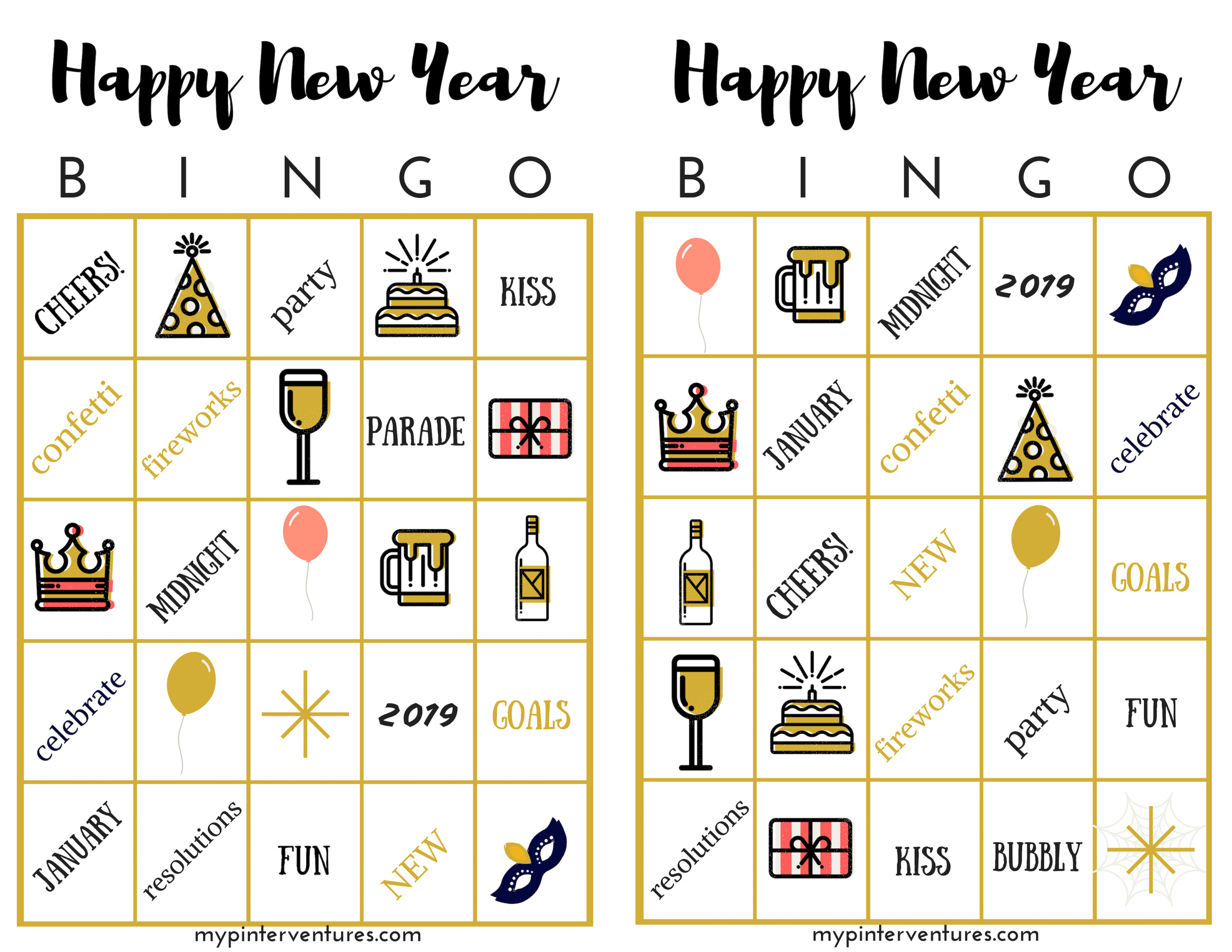 Free New Year's Bingo Printable Game - New Year's Party Game