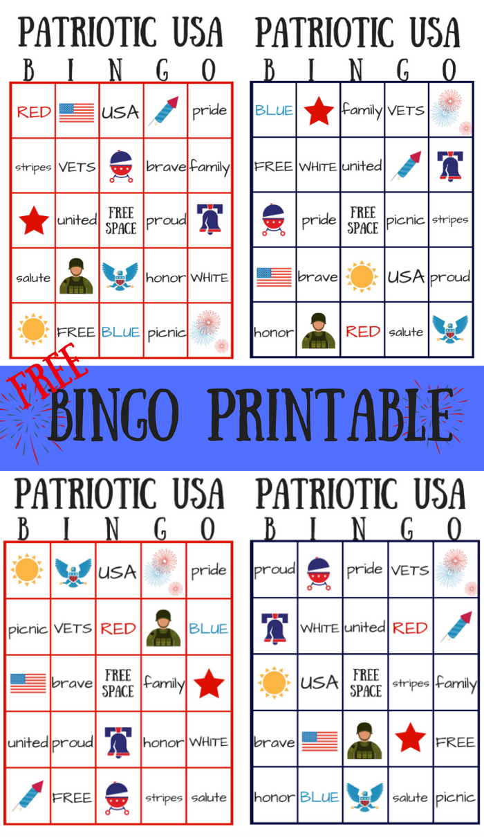 Free Patriotic Usa Bingo Printable - Summer Game | Bingo For