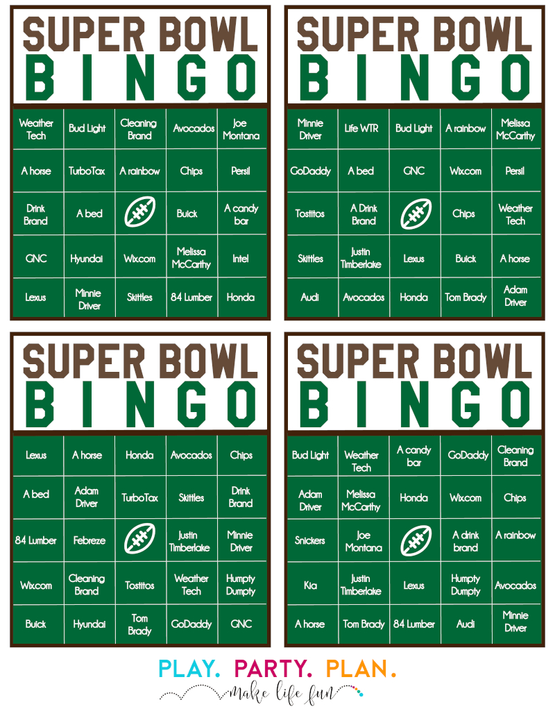 Free Printable 2020 Super Bowl Commercial Bingo - Play Party