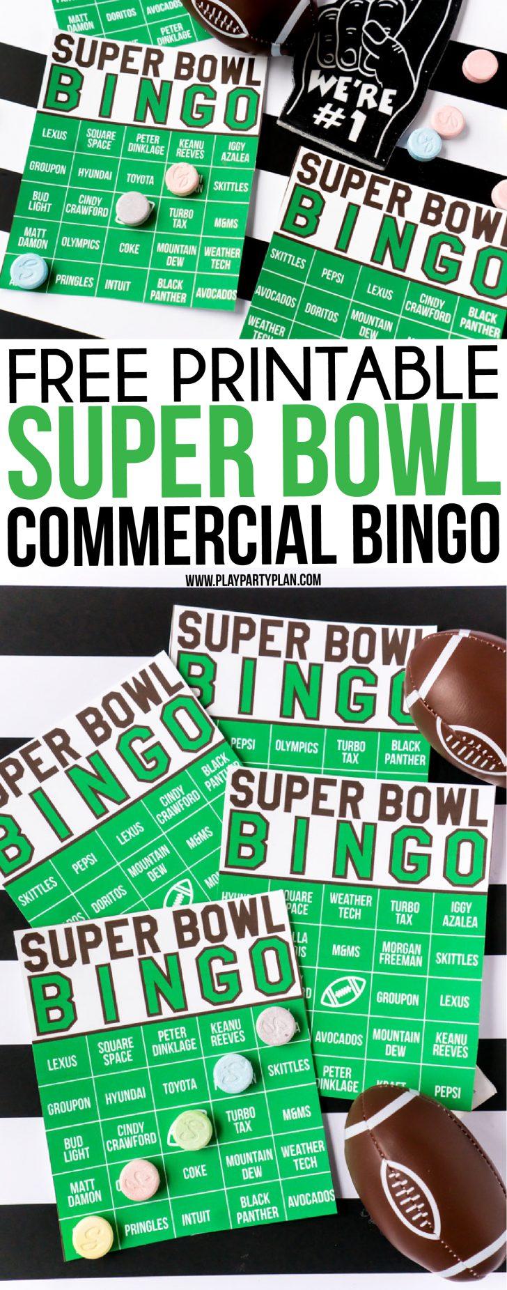 Free Printable Super Bowl Bingo Cards 2019