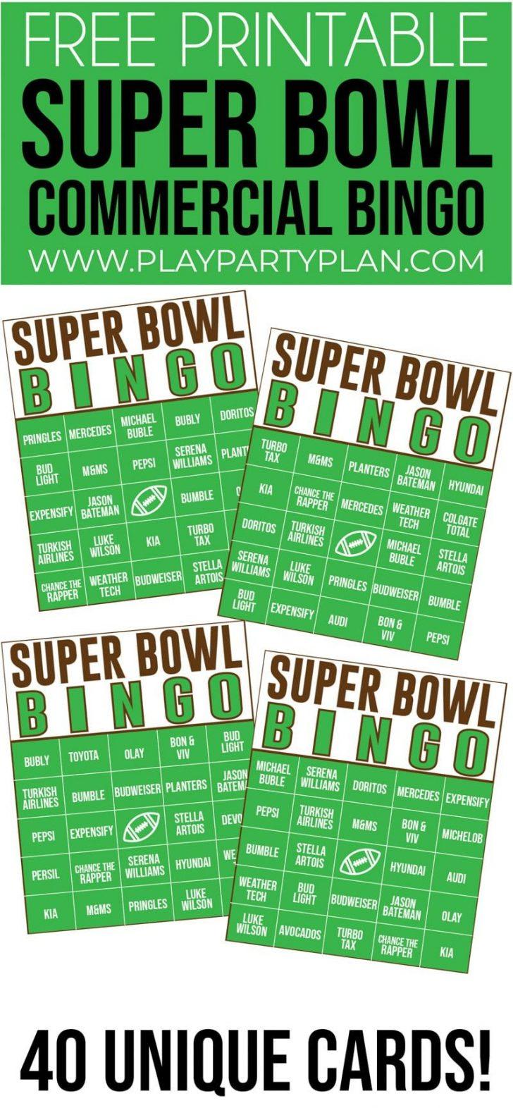 Super Bowl Commercial Bingo Cards Printable