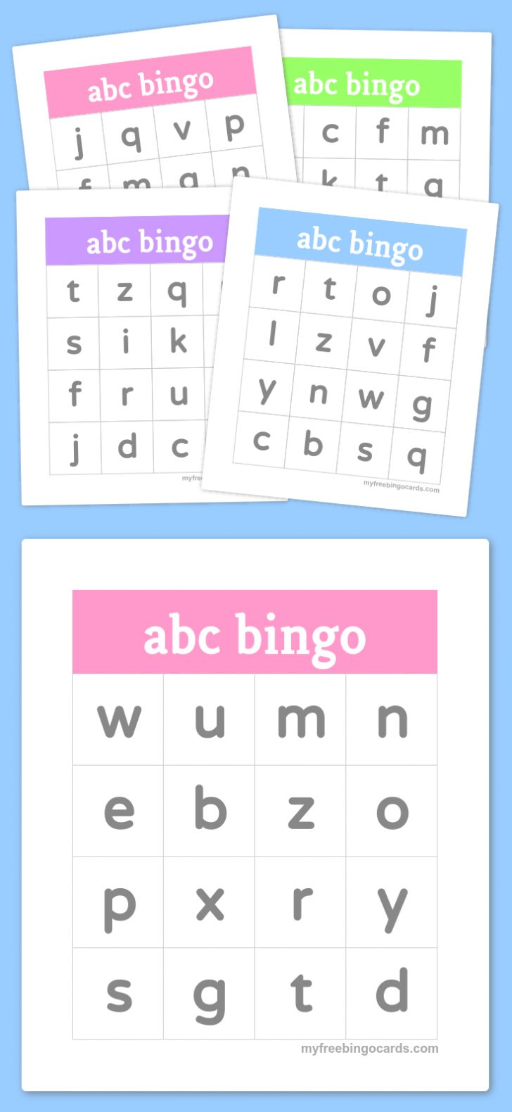 Alphabet Bingo Printable Cards Free