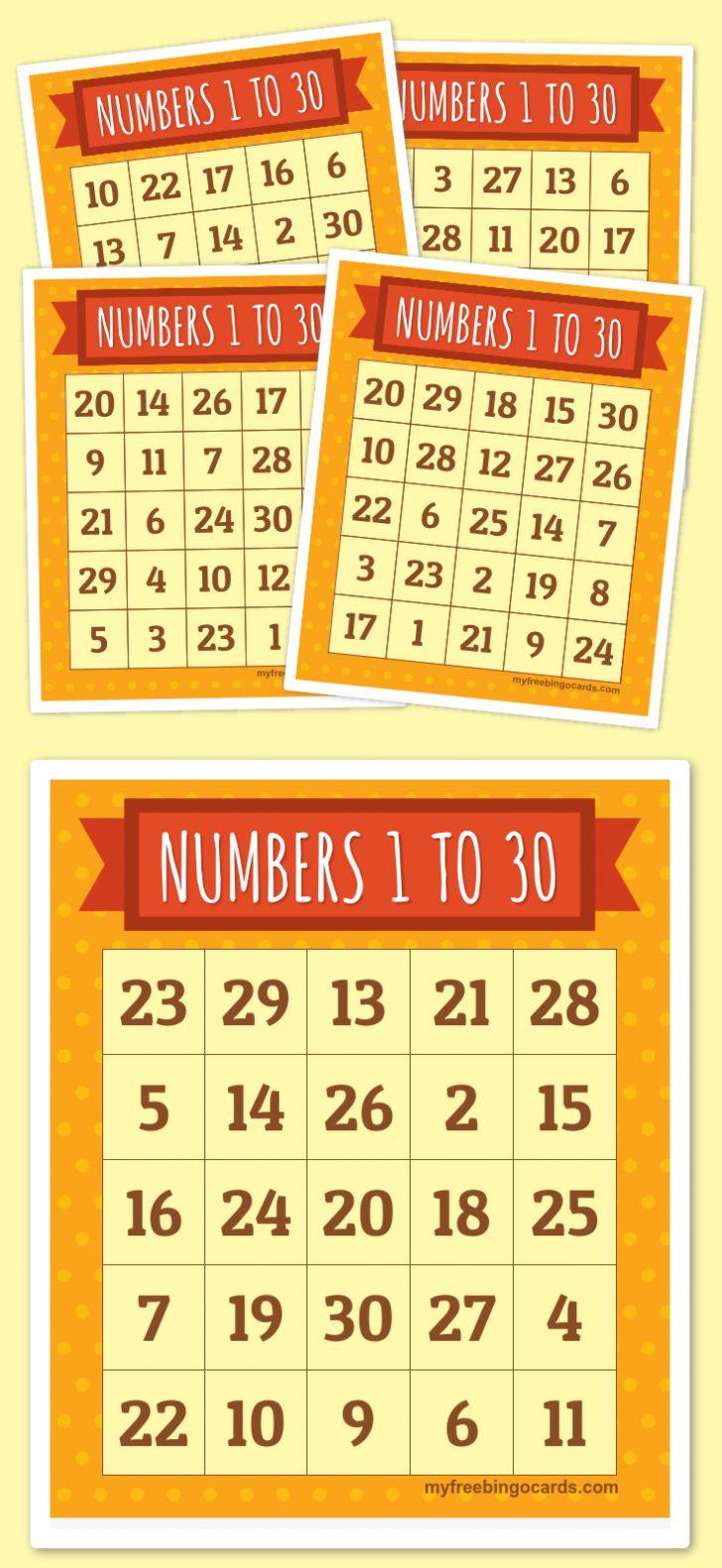 Printable Bingo Cards 1 30
