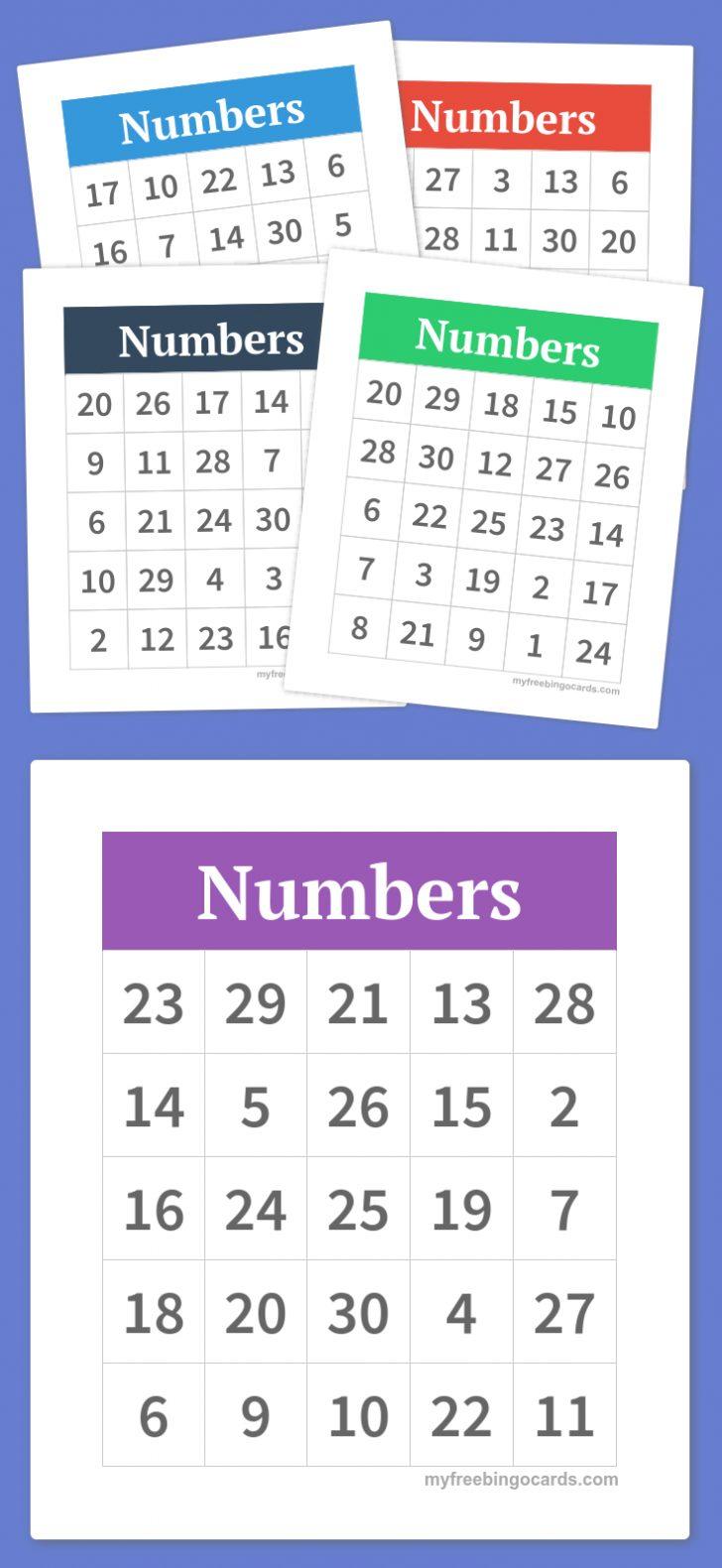 Printable Number Bingo Cards 1 75