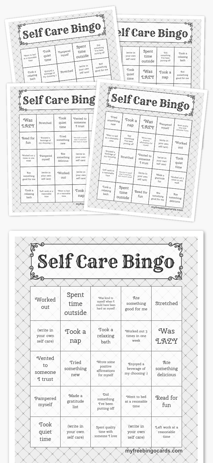 Free Printable Bingo Cards | Coping Skills, Self Care, Self