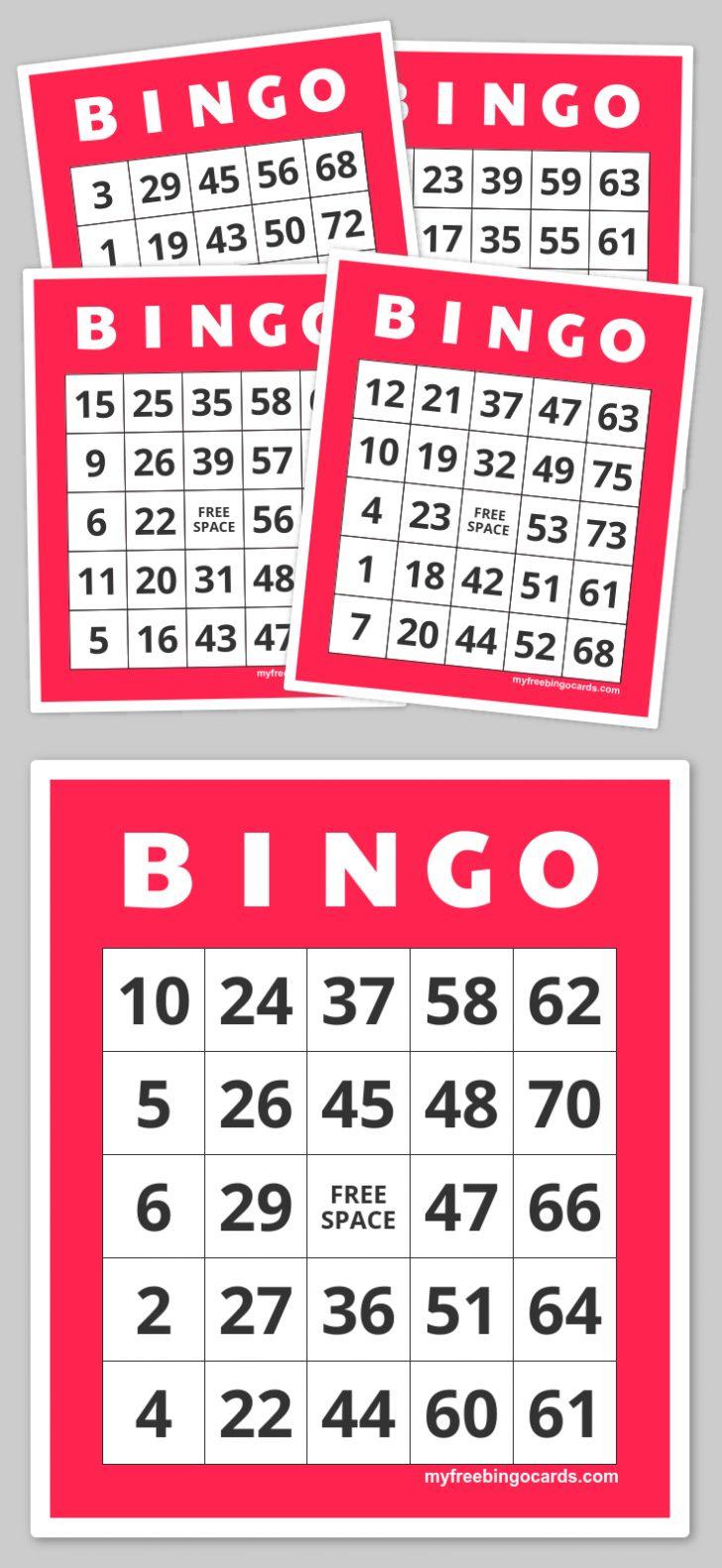 Printable Bingo Cards Numbers 1-50