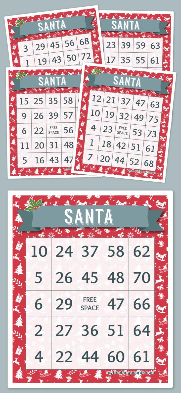 Santa Bingo Cards Printable