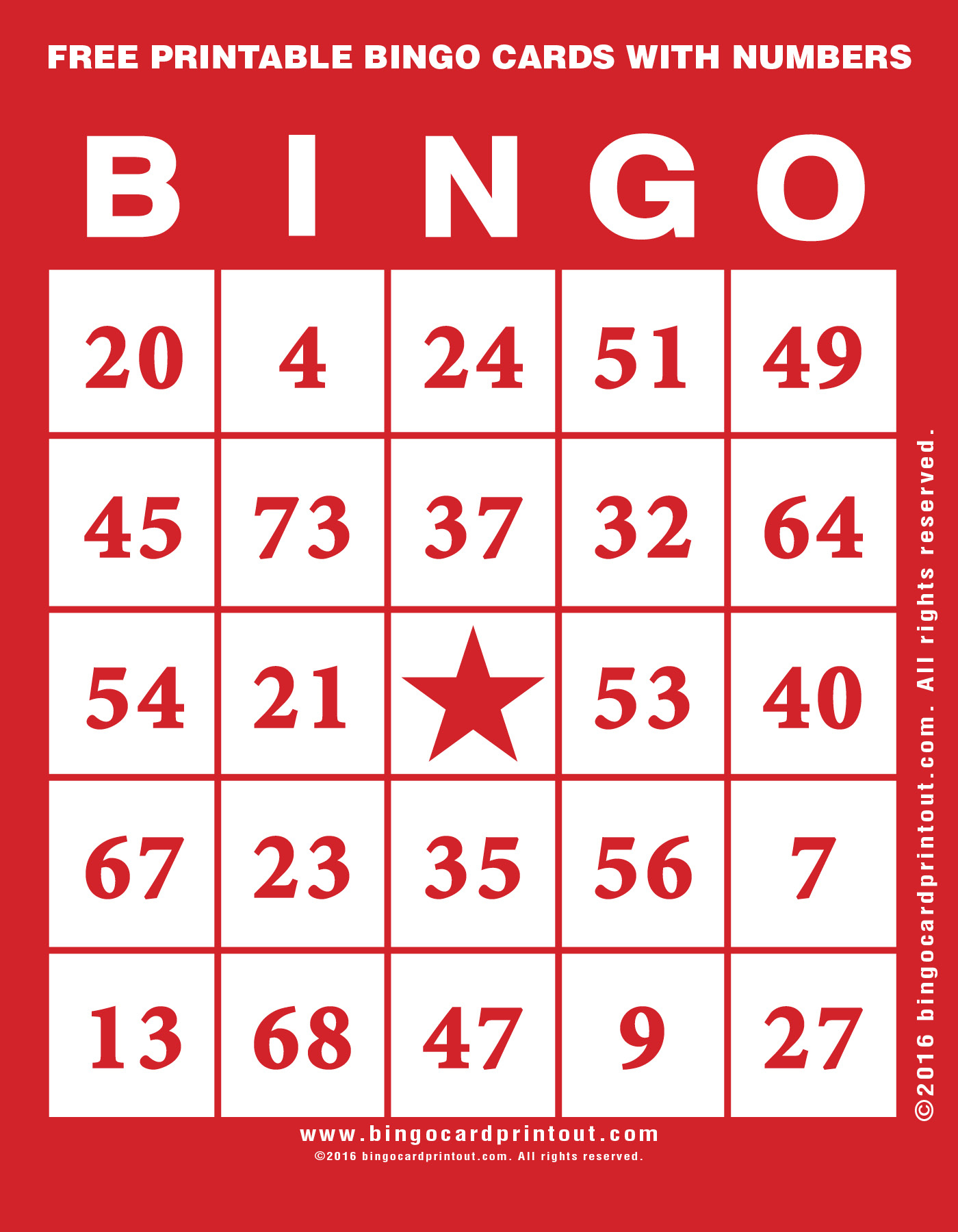 Free Printable Bingo Cards With Numbers - Bingocardprintout