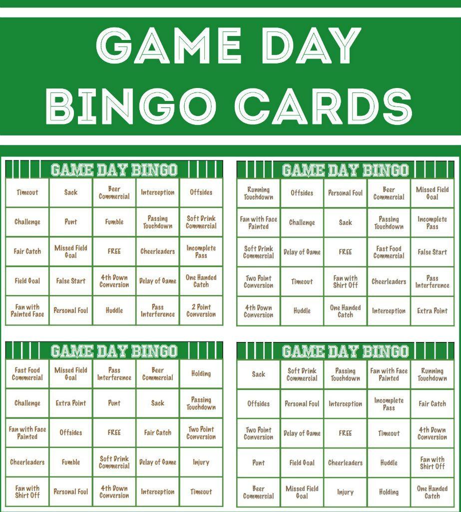 Free Printable Football Bingo Cards | Super Bowl, Super Bowl