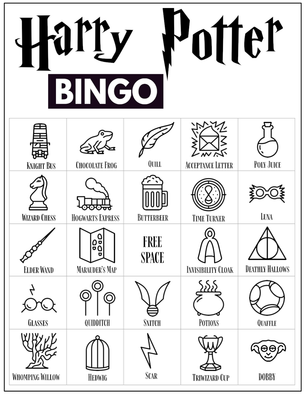 Free Printable Harry Potter Bingo Game - Paper Trail Design