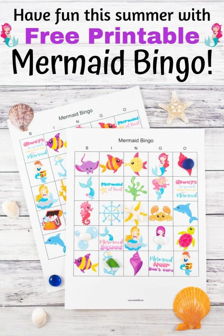 Printable Mermaide Sea Theme Bingo Cards