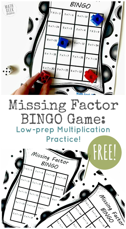 Free Printable Multiplication Bingo Game Challenge
