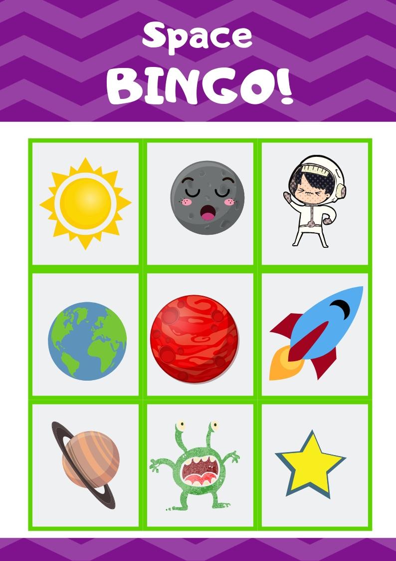 Free Printable Outer Space Bingo Game