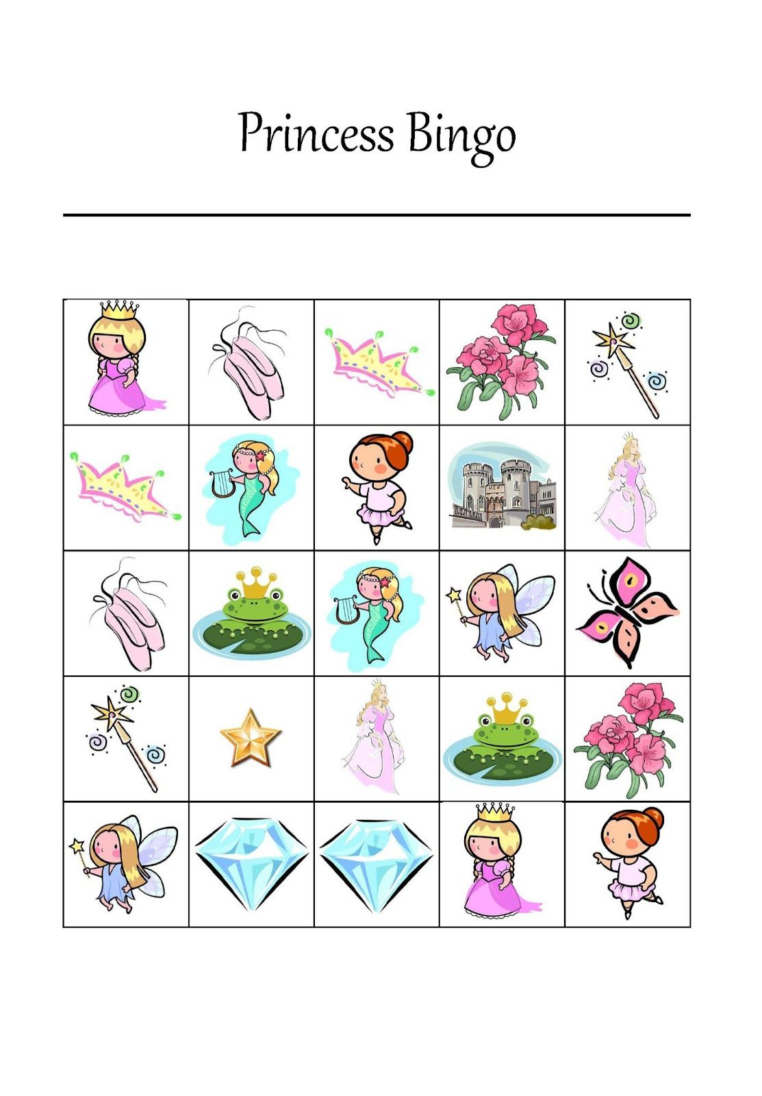 Free Printable Princess Bingo Game | Princess Bingo